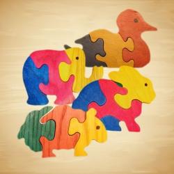 """Wood You Like"" Small Animal Jigsaw Toys"